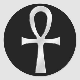 Ankh Silver Classic Round Sticker
