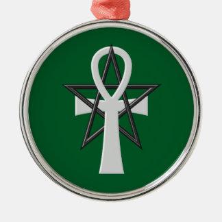 Ankh Silver-Colored Round Ornament