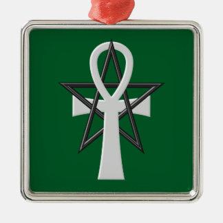 Ankh Silver-Colored Square Ornament