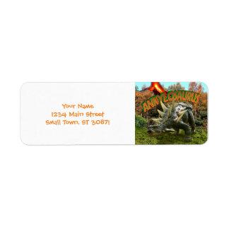 Ankylosaurus Dinosaur Park Vegetation and  Volcano Return Address Label
