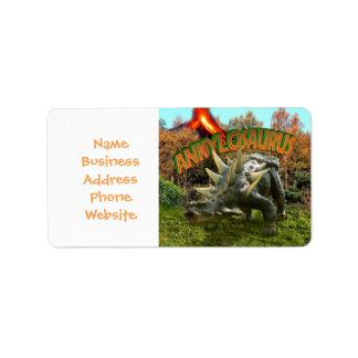 Ankylosaurus Dinosaur Park Vegetation and  Volcano Address Label