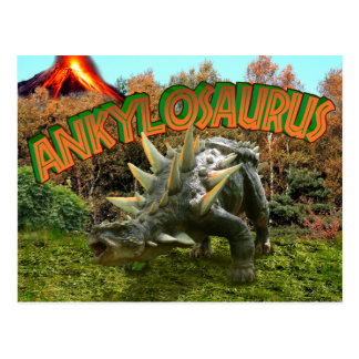 Ankylosaurus Dinosaur Park Vegetation and  Volcano Postcard