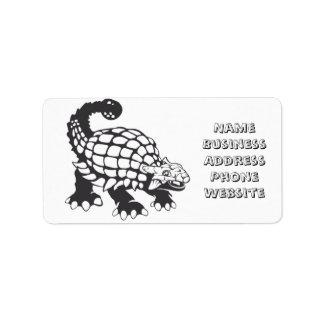 Ankylosaurus Dinosaur Prehistoric Black and White Address Label