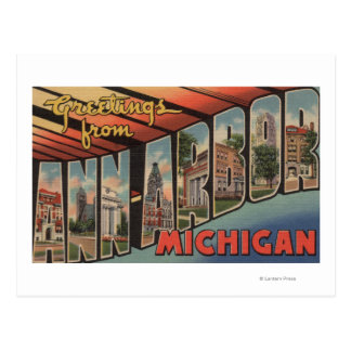 Ann Arbor, Michigan - Large Letter Scenes Postcard