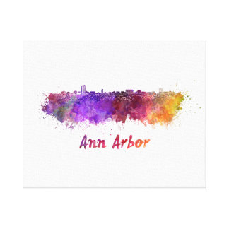 Ann Arbor skyline in watercolor Canvas Print
