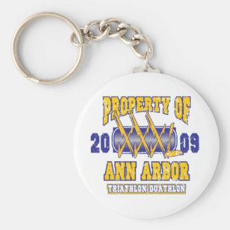 Ann Arbor Triathlon Basic Round Button Keychain