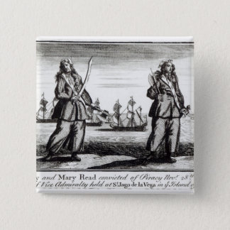 Ann Bonny and Mary 2 Inch Square Button