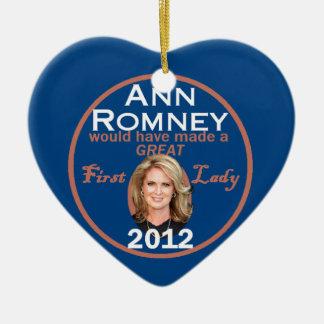 Ann Romney First Lady Ceramic Heart Ornament