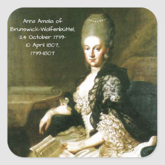 Anna Amalia of Brunswick-Wolfenbuttel 1739-1807 Square Sticker