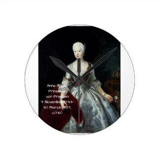 Anna Amalia Prinzessin von Preuben c1740 Round Clock