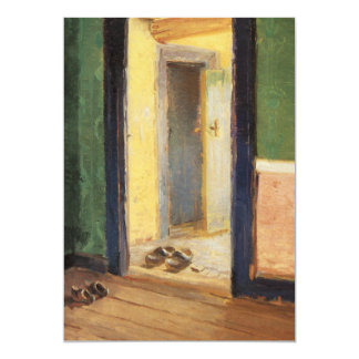 """Anna Ancher Danish artist At Lunchtime wooden shoe 5"""" X 7"""" Invitation Card"""