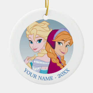 Anna and Elsa | Back To Back Add Your Name Ceramic Ornament