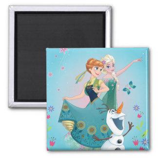 Anna and Elsa | Celebrate Sisterhood Square Magnet