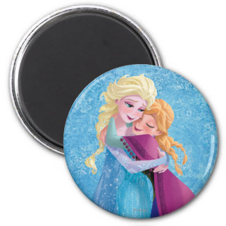 Anna and Elsa | Hugging 2 Inch Round Magnet