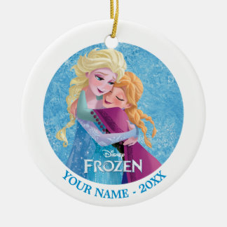Anna and Elsa | Hugging Add Your Name Ceramic Ornament