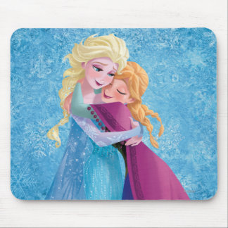 Anna and Elsa Hugging Mouse Pad