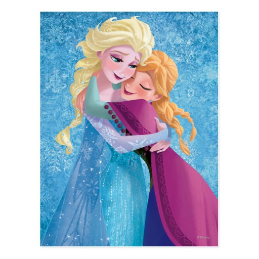 Anna and Elsa Hugging Post Card