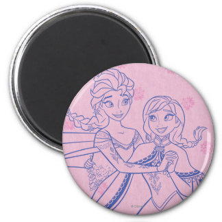 Anna and Elsa | I Love My Sister 2 Inch Round Magnet