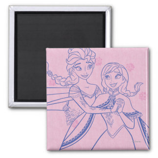 Anna and Elsa | I Love My Sister Square Magnet