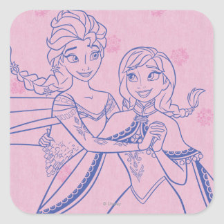 Anna and Elsa | I Love My Sister Square Sticker
