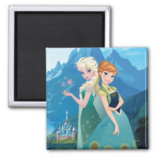 Anna and Elsa | My Sister Loves Me Square Magnet