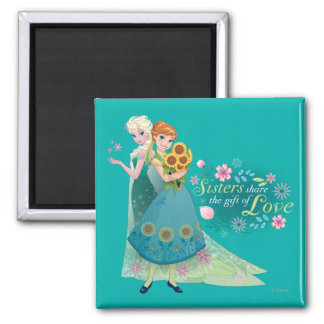 Anna and Elsa | Sister Love Square Magnet