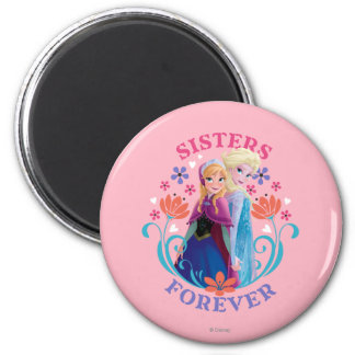 Anna and Elsa | Sisters with Flowers 2 Inch Round Magnet