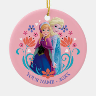Anna and Elsa | Sisters with Flowers Add Your Name Round Ceramic Ornament