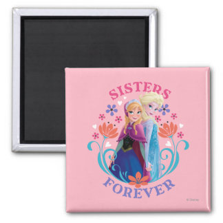 Anna and Elsa | Sisters with Flowers Square Magnet