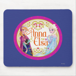 Anna and Elsa with Floral Frame Mouse Pad