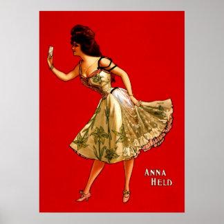 Anna Held ~ Vintage 1899 Vaudeville Theater Ad Poster