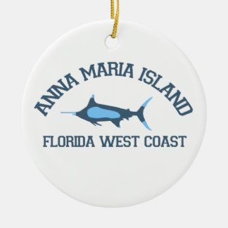 Anna Maria Island - Fishing Design. Round Ceramic Ornament