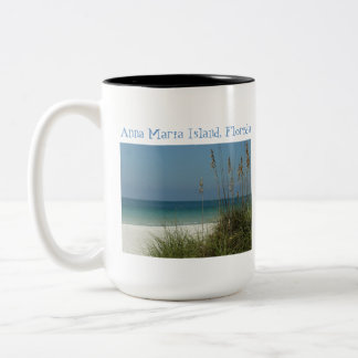 Anna Maria Island, Fl., Gulf view thru Seaoats Two-Tone Coffee Mug