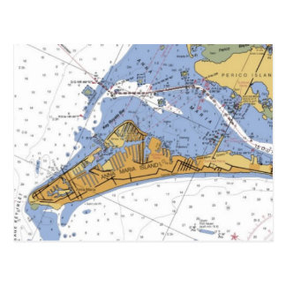 Anna Maria Island Florida Nautical chart Postcard
