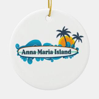 Anna Maria Island - Surf Design. Ceramic Ornament
