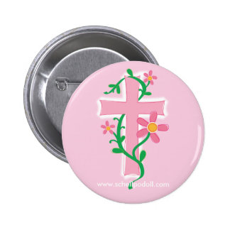 Anna Maxine Flower Cross 2 Inch Round Button