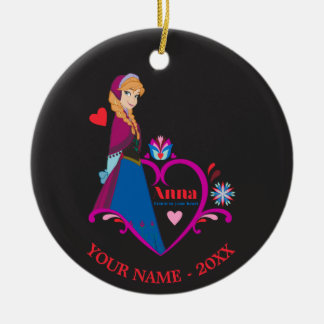 Anna | Pink Heart Add Your Name Ceramic Ornament