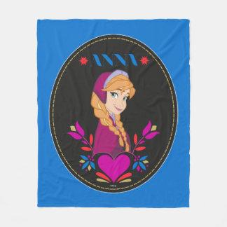 Anna | Portrait in Black Circle Fleece Blanket