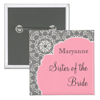 AnnaLiese Damask - Pink n Grey Bridal Party Button