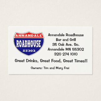 Annandale Roadhouse Business Card