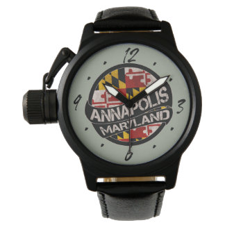 Annapolis Maryland grunge flag wrist watch