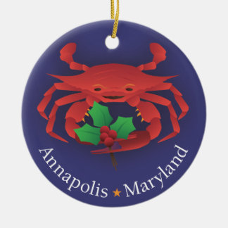Annapolis Maryland Skyline & Crab with Holly Ceramic Ornament