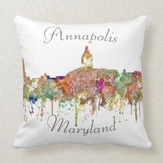 Annapolis, Maryland Skyline - Faded Glory Throw Pillow