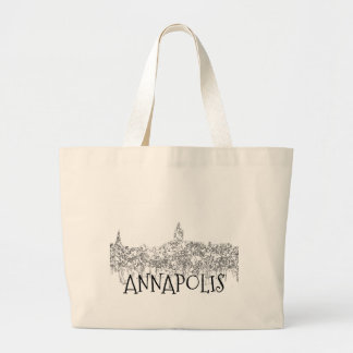 Annapolis Maryland Skyline SG-Black and White Large Tote Bag