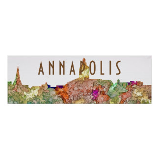 Annapolis Maryland Skyline SG - Faded Glory Poster