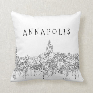 Annapolis Maryland Skyline SG-Safari Buff Throw Pillow