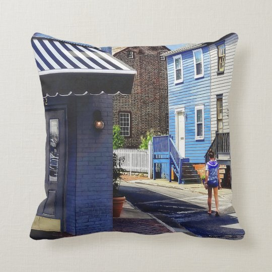 Annapolis MD - Strolling Along Pinkney Street Throw Pillow