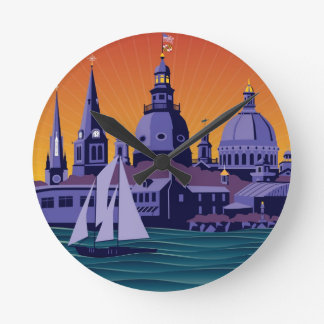Annapolis Steeples and Cupolas: Sunset Round Clock