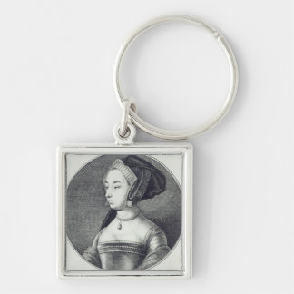 Anne Boleyn, etched by Wenceslaus Hollar, 1649 Silver-Colored Square Keychain