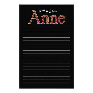 "Anne Faux-""Ruby""  Black Stationery"